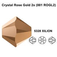 CRYSTAL ROSE GOLD 2x (001 ROGL2) Genuine Swarovski 5328 XILION Bicone Bead *pick