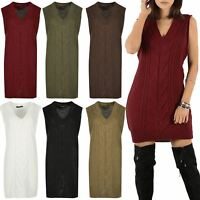 Womens Chunky Cable Knitted V Neck Mini Dress Ladies Sleeveless Baggy Jumper Top