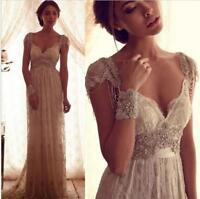 Boho White/Ivory Lace Beaded Wedding Dress Empire Cap Sleeve V Neck Bridal Gown