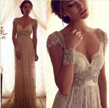 Gorgeous Crystals Beaded Sheath Beach Wedding Dress Bridal Gown Size 4 6 8 10 +