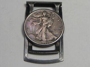 Money Clip w/ 1945 Silver Walking LIBERTY Half Dollar.  #5