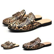 New Men Loafers Slingbacks Slippers Leather Shoes Leopards Tassels Pumps Party D