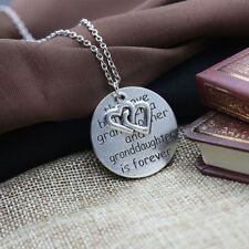 Love Jewelry Carved Letters Grandmother Pendant Necklace Alloy Round