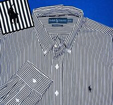 XL RALPH LAUREN CUSTOM FIT BLACK WHITE STRIPED EMBROIDERED PONY LOGO MENS SHIRT
