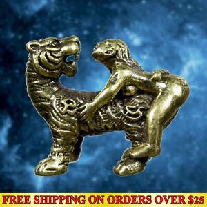 Brass Miniature Tiger & Woman Lucky Love Charm Talisman Lucky Amulet Statue FS