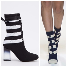 Women's Crochet Knit Mono Laced Striped Mid Calf Sock Boots High Heel New Shoes