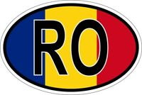 Autocollant sticker ovale oval drapeau code pays RO roumanie