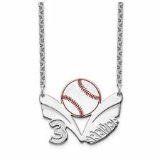 SS Epoxied Baseball Necklace with Name and Number