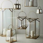 ART DECOR GEOMETRY COOPER FINISH METAL GLASS CANDLE LANTERN HOLDER STAND 3 SIZES