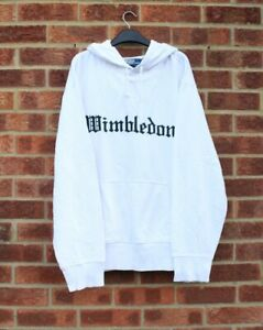 Vtg white Ralph Lauren hoodie Wimbledon embroidered designer oversized 2XL