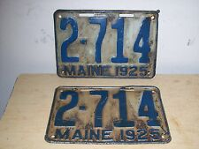 1925 pair Maine License Plates  #2-714 Rat Rod-Classic Car-Sign-Chevy-Dodge-Ford