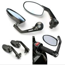 MOTORCYCLE BLACK HANDLEBAR END REAR VIEW SIDE MIRROR FOR ALL BIKES.