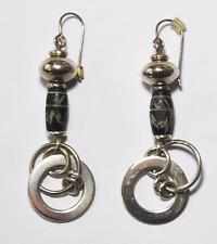 "Beautiful Sterling Silver Mexico Black Dangle Hoop Earrings 2.5"" 21mm"