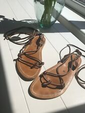 K Jacques Lucile Wrap Sandals Brown Leather Uk 6/39