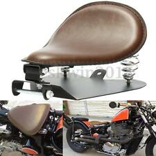 Brown PU Leather SOLO Seat Pan Frame Cover Spring Base For Harley Bobber Chopper