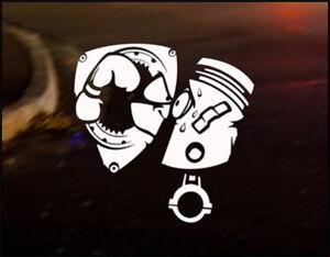 ROTARY VS PISTON Car Decal Sticker Mazda RX8 RX-8 RX7 RX-7 Renesis 13B Wankel