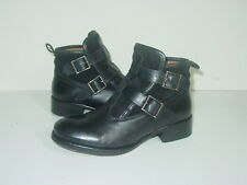 BERTIE BLACK LEATHER & SUEDE BUCKLE UP ANKLE BOOTS SIZE uk 3/eu 36