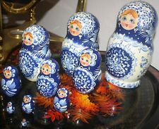 Signed ~ Russian Matryoshka Nesting Doll ~ 10 Pieces ~ Stacking Dolls ~ Blue