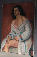 Heroic WPA Semi Nude Female Portrait Social Realism Chicago Art Deco Robe Girl