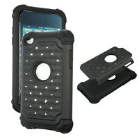 Black Hybrid Rhinestone silicon Apple iPod Touch 4th gen Cover Case