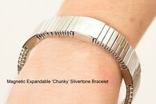 Chunky Silver Magnetic Bracelet - Magnet Therapy Product -