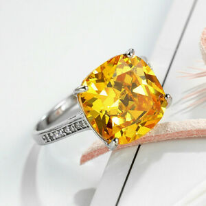 Handmade Square Shaped Natural Shiny Yellow Citrine Gems Silver Ring Size 6-10