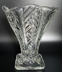Art Deco geometric Glass Vase Square Shaped