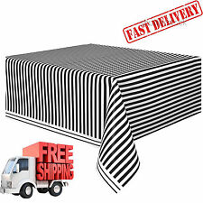 """Rectangular Tablecloth 108"""" x 54"""" Plastic Striped Black White Patio Table Cover"""