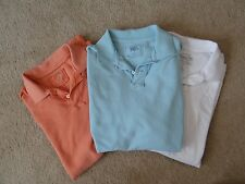 Lot of 3 Men's J.Crew White Blue Coral Short Sleeve Vintage Polo Shirts XL
