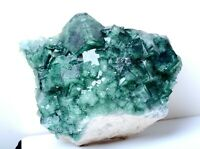 NATURAL Beauty Green Cubic FLUORITE Crystal Cluster Mineral Specimen 2297g