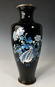 Unusual Japanese Silver Wire Cloisonne Vase With Quail In Shades Of Blue
