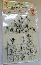 BNIP Clear Unmounted Stamp Set Birds Grass Weeds Chicks Spring