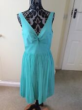 J Crew Size 8 Aqua Marine Crepe Look Silk Dress RRP: £178.00
