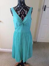 J Crew Size 8 Aqua Marine Crepe Look Silk Dress RRP: £178.00