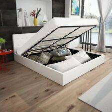 vidaXL Letto Matrimoniale 180x200 cm Similpelle Bianco con Contenitore Telaio