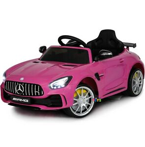 Electric Car Kids Ride On Mercedes MP3 Music Plastic Seat Horn Sound Lights Pink