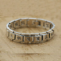 """Real 925 Sterling Silver Bracelet Link Chain Buddha Lection Heavy Men's 8.3"""""""