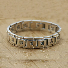 """Chain Buddha Lection Heavy Men's 8.3"""" Real 925 Sterling Silver Bracelet Link"""