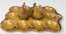 Vintage Deviled Egg Plate with Chicken Salt & Pepper Shakers Yellow