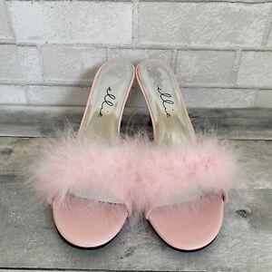 Ellie SASHA Women's Pink Valentine's Costume Heel Maribou Fur Slippers Sandal 12