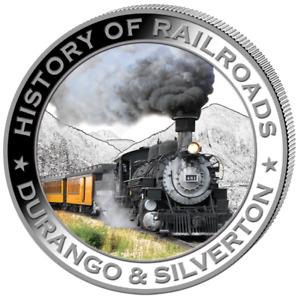 Liberia 2011 $5 History of Railroads - Durango & Silverton Proof Silver Coin