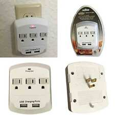 Topzone 3 Outlet with 2 USB Charging Wall  Mount Surge Protector Adapter