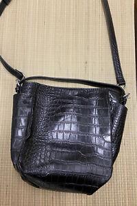 ZARA Black Croc Embossed Vegan Leather Small Bucket Bag