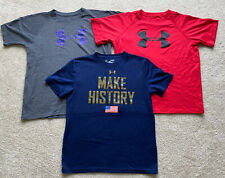 Under Armour Boys Athletic Shirts Red Gray Navy Large Lot
