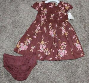 OshKosh BGosh Baby Girl Floral Dress Set Size 24 Months 24M Pink Yellow Fall NWT
