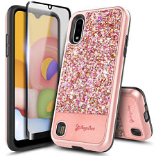 For Samsung Galaxy A01 Case Glitter Bling Phone Cover + Tempered Glass Protector