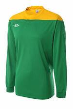 6 x Umbro Men's '5 A-Side' Football Shirts Green & Yellow Long Sleeved (M-XL)