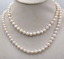 """Fashion Charming 7-8mm White Akoya Cultured Pearl Necklace 25"""" PN313"""