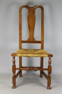 RARE 18TH C MA QA SPANISH FOOT SIDE CHAIR IN BOLD FEET AND FORM NICE OLD PATINA