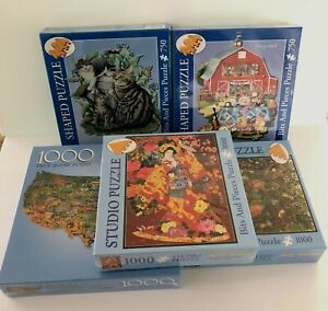 Bits and Pieces 750 and 1000 Piece Puzzle Lot Studio Shaped Jigsaw Lot of 5 NEW
